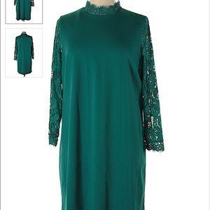 Teal Mock Shift Dress